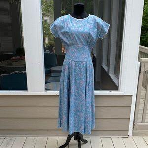 Vintage 80s does 50s Floral Lace Midi Tea Dress